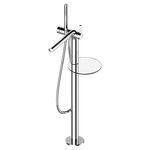 misturador monocomando para banheira / de piso / em metal cromado / 1 orifício