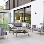 sofá clássico / para ambiente externo / em tecido / em alumínio