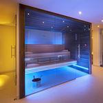 sauna finlandesa / da linha comercial / em madeira / em vidro temperado