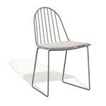 cadeira de jardim contemporânea / com base tipo trenó / com almofada removível / metálica