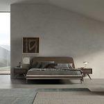 cama de casal / contemporânea / com cabeceira / em tecido