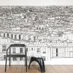 papel de parede contemporâneo / panorâmico / padrão urbano / com cena