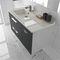 gabinete de banheiro duplo / suspenso / em madeira / em cerâmica
