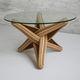 mesa de centro de design original / em vidro temperado / com base em madeira maciça / com base em bambu