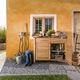 buffet aparador contemporâneo / em teca / em aço inoxidável / para jardim