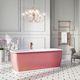 banheira freestanding / em pedra / branca / rosa