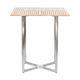mesa alta contemporânea / em teca / em aço inoxidável / quadrada