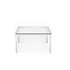 mesa de centro contemporânea / em vidro / com base metálica / quadrada